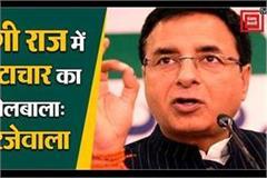 corruption dominated in yogi raj surjewala