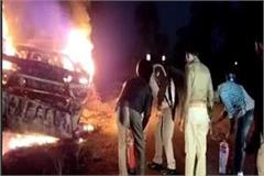truck burnt to death driver burnt to death