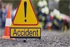 high speed car collided with bike injured two people including sarpanch