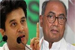 jyotiraditya scindia gave a shock to digvijay singh