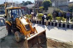jcb run on encroachment in chuwari