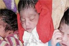 up woman gives birth to three children simultaneously a sense of happiness