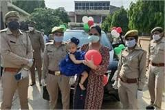 up police arrived with cake on the first birthday of the girl