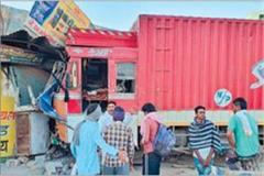 truck steering failed uncontrolled and entered three shops