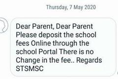private schools state started send messages parents depositing fees