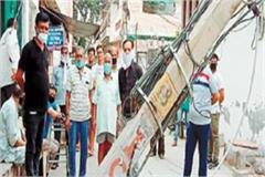 electricity pole broken in indira colony supply disrupted