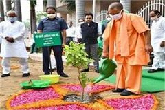 cm yogi planting trees on world environment day