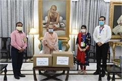 up governor gave 1 thousand masks and sanitizers to the help new trust