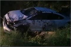 high speed car fell into a roadside drain two death