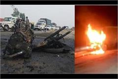 army soldier killed in road accident bullet bike stuck in container