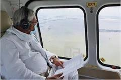 nitish did aerial survey of flood affected areas