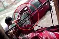 mathura daroga ji in yamuna with car local people rescued