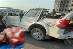 blade of crane entered into the body of young man in road accident