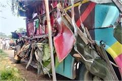 bus from odisha to gujarat collides with truck in raipur 8 killed