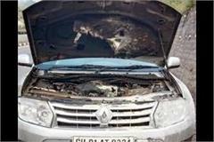 fire in car on kalka shimla highway