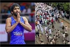 wrestler bajrang punia tweeted on lathi charge on farmers