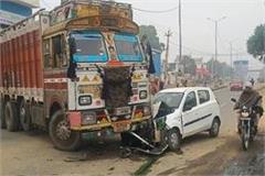 major collision truck and car injured driver referred sirsa