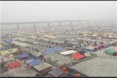 magh mela 2021  temporary city of tents settled at sangam