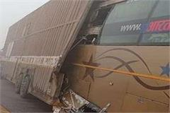 double decker bus halfway into container on agra lucknow expressway 5 killed