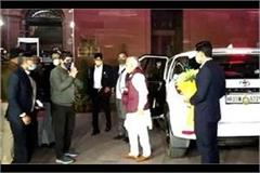 chief minister manohar arrives to meet shah with dushyant chautala