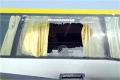 break glass of volvo buses in bilaspur