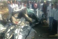 car and tanker collide face to face in sambhal 4 killed