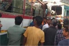 mirzapur roadways bus and truck face to face collision twenty people injured