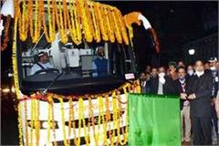 cm gave green flag to 2 ac volvo buses of tourism corporation