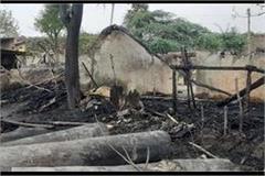 fire in a hut in jaunpur death of a child