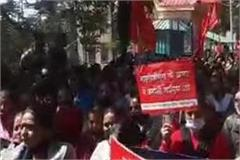 outside the assembly the agitation of the anganwadi workers union