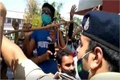 students protest in gwalior