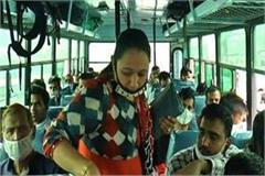 haryana buses are flying the corona rules