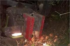 tragic accident gravel filled trolley overturns driver dies on the spot