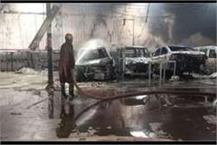 six cars burnt down in agra in a workshop