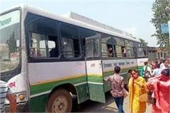 wheels also stopped of private buses on fourth day hrtc ran buses on demand