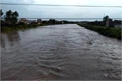 flood in haryana water reached railway railway bridge and highway