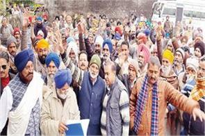 farmers protest against demand compensation crops damaged rain
