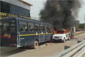 violent gujjar agitation agitators set fire to police vehicle