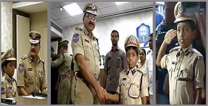 8 year boy becoming police commissioner for a day in hyderabad