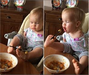 russian girl born with no arms learns to feed herself using her feet
