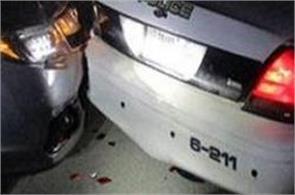 student topless was taking selfi  car hit in police van