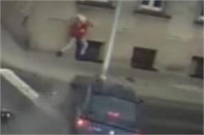saved a woman from being hit by a runaway car in the polish city of kalisz