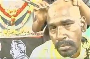 supporters in coimbatore shave their heads in mourning after jayalalithaa demise