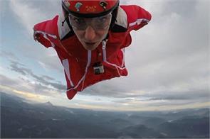 italian model roberta mancini flies over a volcano in chile