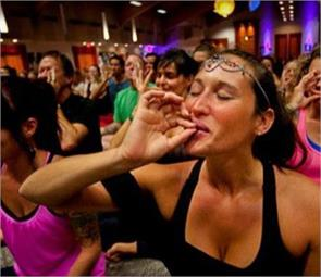 lady combines ganja and yoga for a relaxing experience