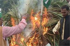 farmers held holi of sugarcane  heavy police force deployed on assembly