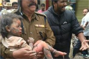 bengaluru cylinder blast child survivors from wreckage