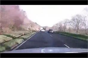 footage shows three vehicles career off road in wales