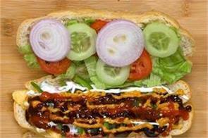 homemade veg subway sandwich