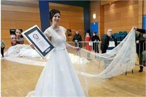 the world  s longest wedding dress can cover mount everest
